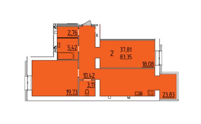 ЖК Набережный квартал: планировка 2-комнатной квартиры 83.35 м2, тип 2-83.35