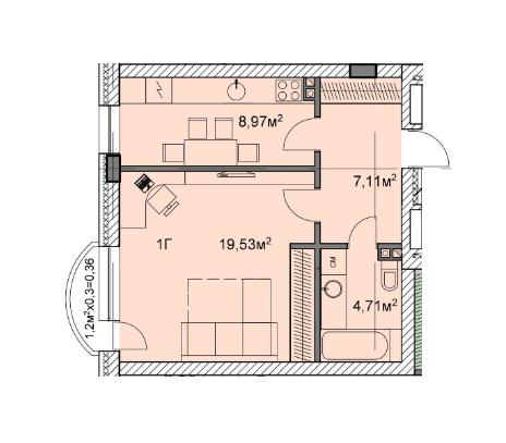 ЖК Михайловский: планировка 1-комнатной квартиры 40.68 м2, тип 1г