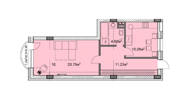 ЖК Михайловский: планировка 1-комнатной квартиры 47 м2, тип 1е