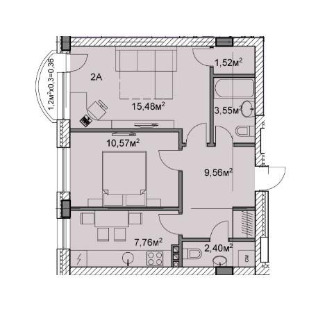 ЖК Михайлівський: планування 2-кімнатної квартири 51.2 м2, тип 2а