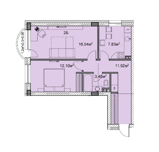 ЖК Михайлівський: планування 2-кімнатної квартири 52.15 м2, тип 2б