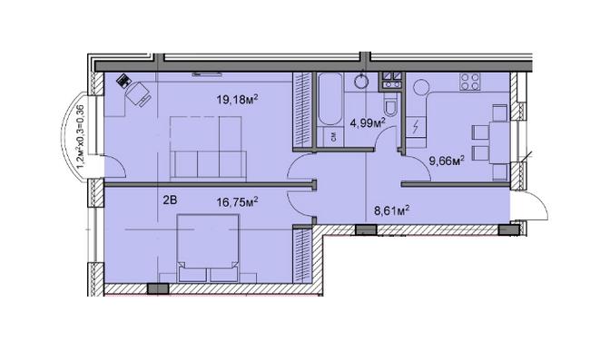 ЖК Михайлівський: планування 2-кімнатної квартири 59.55 м2, тип 2в
