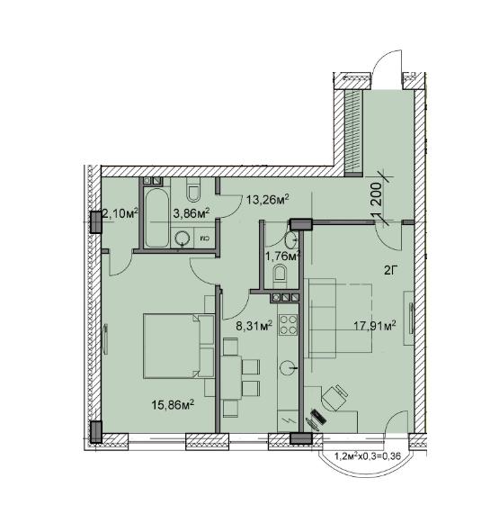 ЖК Михайлівський: планування 2-кімнатної квартири 63.42 м2, тип 2г