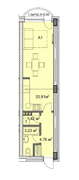 ЖК Михайлівський: планування 1-кімнатної квартири 30.68 м2, тип 1а