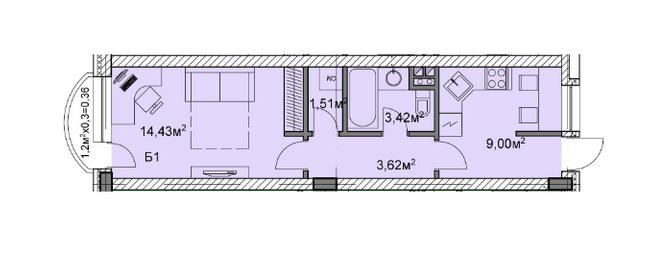 ЖК Михайловский: планировка 1-комнатной квартиры 32.34 м2, тип б1