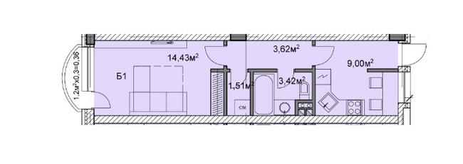 ЖК Михайлівський: планування 1-кімнатної квартири 32.34 м2, тип б1
