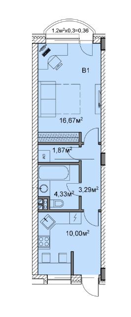 ЖК Михайлівський: планування 1-кімнатної квартири 35.79 м2, тип в1