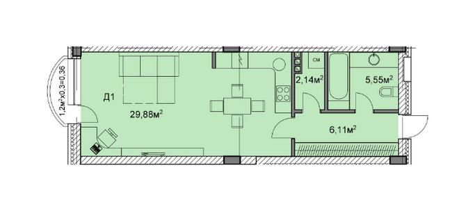 ЖК Михайлівський: планування 1-кімнатної квартири 44.04 м2, тип д1