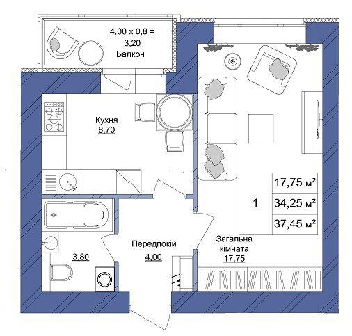 ЖК Європейський: планування 1-кімнатної квартири 37.45 м2, тип 1-37.45
