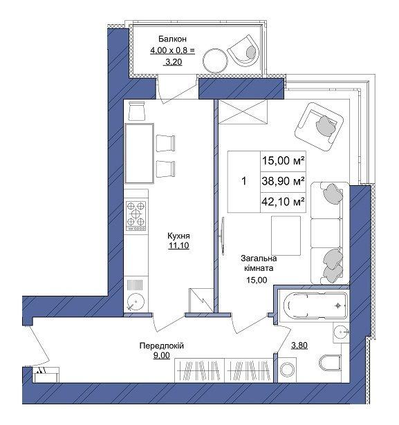 ЖК Європейський: планування 1-кімнатної квартири 42.1 м2, тип 1-42.10