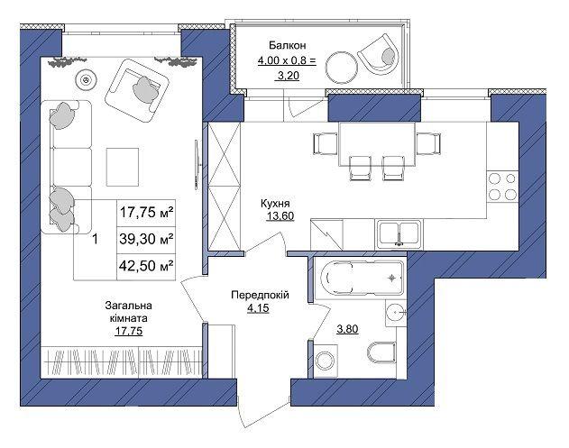 ЖК Європейський: планування 1-кімнатної квартири 42.5 м2, тип 1-42.50