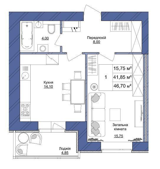 ЖК Європейський: планування 1-кімнатної квартири 46.7 м2, тип 1-46.70
