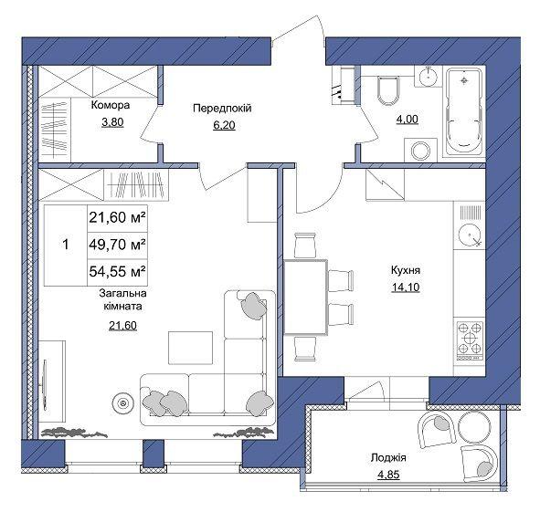 ЖК Європейський: планування 1-кімнатної квартири 54.55 м2, тип 1-54.55
