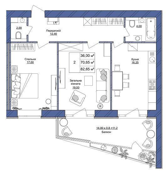 ЖК Європейський: планування 2-кімнатної квартири 82.65 м2, тип 2-82.65