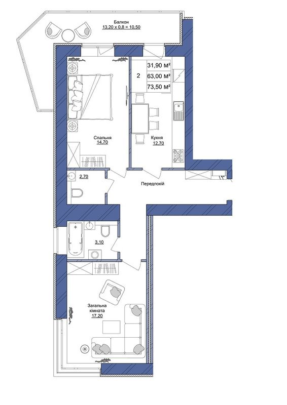 ЖК Європейський: планування 2-кімнатної квартири 73.5 м2, тип 2-73.50