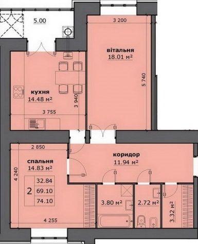 ЖК на Стрийській: планування 2-кімнатної квартири 74.1 м2, тип 2-74.10
