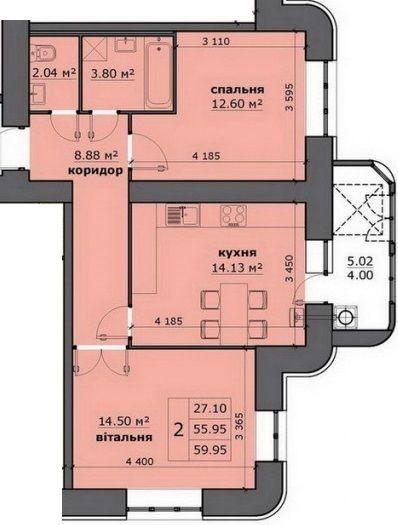 ЖК на Стрийській: планування 2-кімнатної квартири 59.95 м2, тип 2-59.95