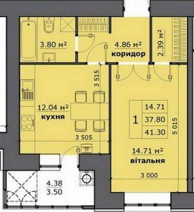 ЖК на Стрийській: планування 1-кімнатної квартири 41.3 м2, тип 1-41.30
