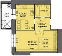 ЖК на Стрийській: планування 1-кімнатної квартири 38.95 м2, тип 1-38.95