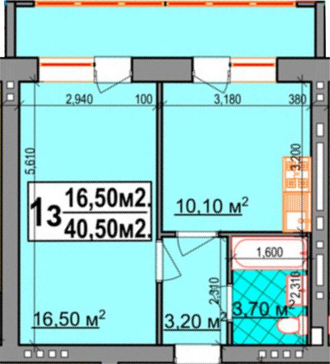 ЖК Прибалтийский: планировка 1-комнатной квартиры 40.5 м2, тип 1-40.50