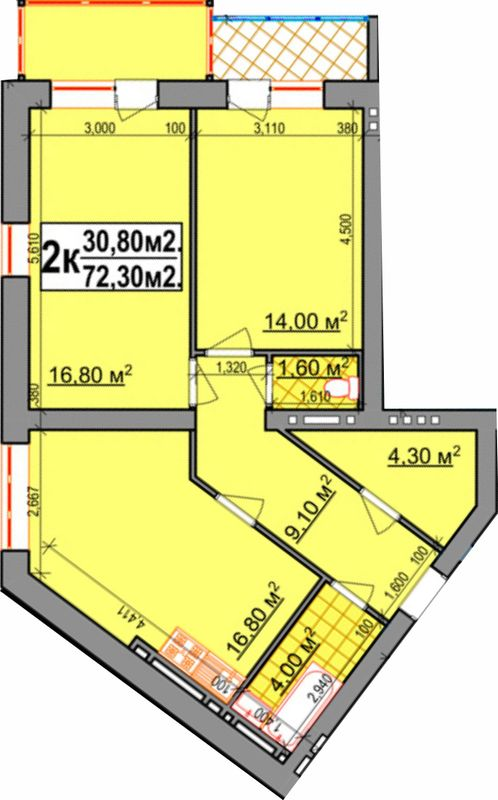 ЖК Прибалтийский: планировка 2-комнатной квартиры 72.3 м2, тип 2-72.30