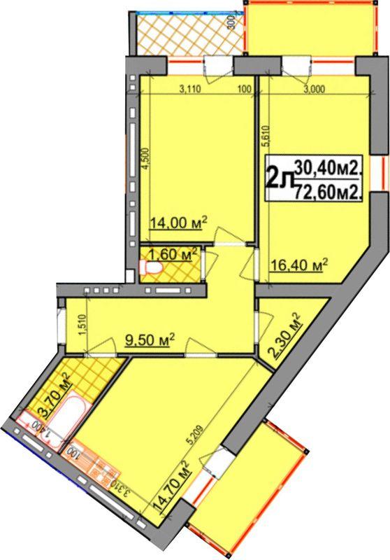 ЖК Прибалтийский: планировка 2-комнатной квартиры 72.6 м2, тип 2-72.60