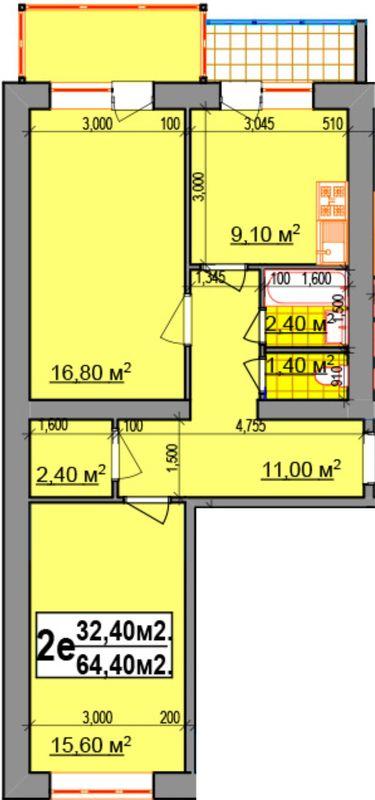 ЖК Прибалтийский: планировка 2-комнатной квартиры 64.4 м2, тип 2Е
