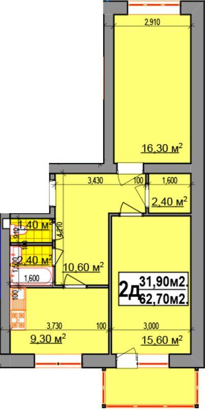 ЖК Прибалтийский: планировка 2-комнатной квартиры 62.7 м2, тип 2Д