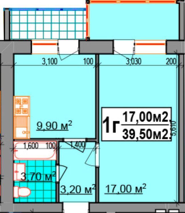 ЖК Прибалтийский: планировка 1-комнатной квартиры 39.5 м2, тип 1Г