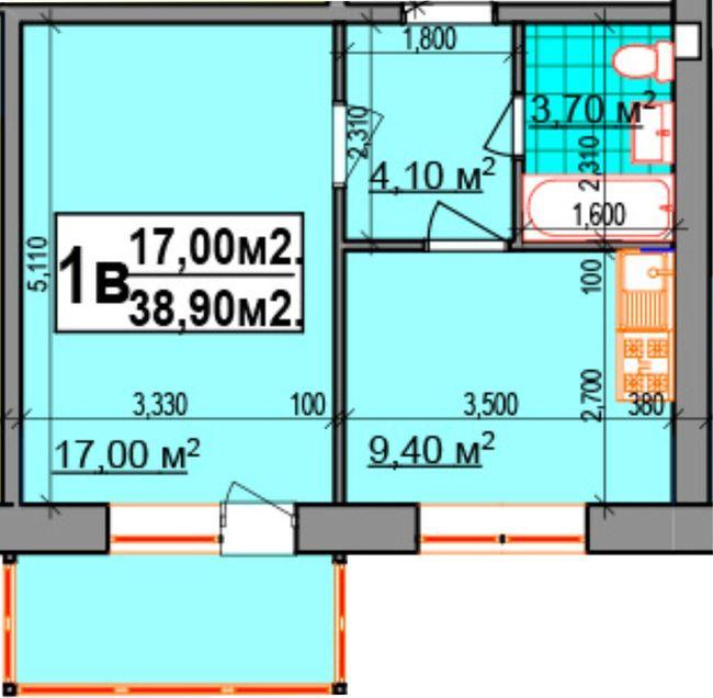 ЖК Прибалтийский: планировка 1-комнатной квартиры 38.9 м2, тип 1В
