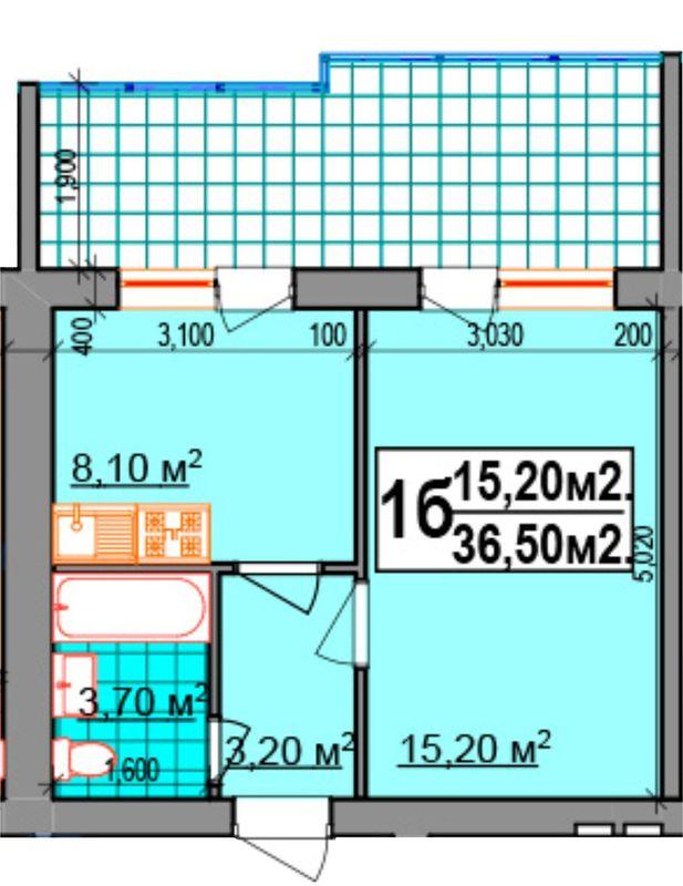 ЖК Прибалтийский: планировка 1-комнатной квартиры 36.5 м2, тип 1б