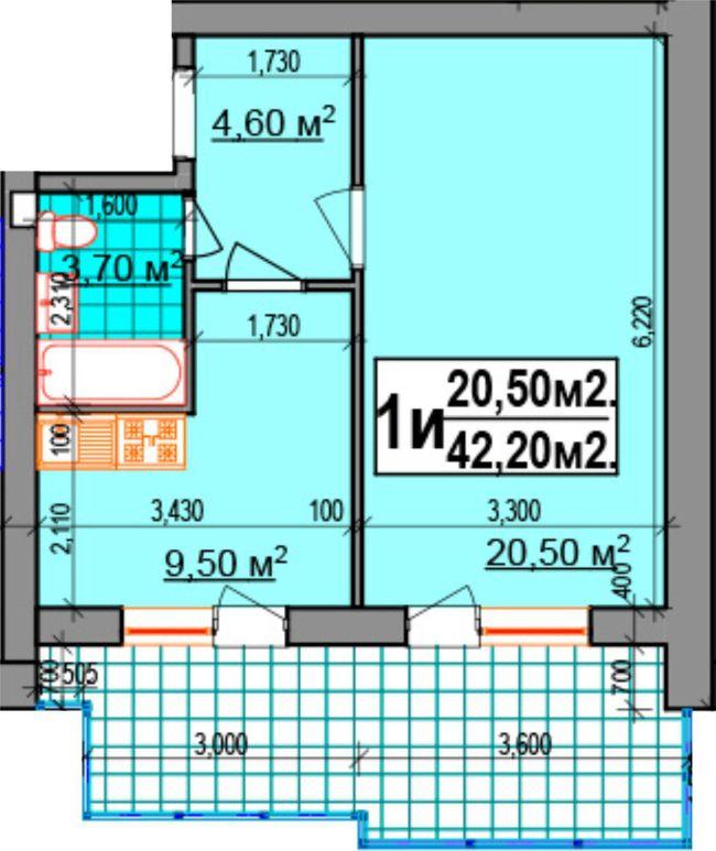 ЖК Прибалтийский: планировка 1-комнатной квартиры 42.2 м2, тип 1и