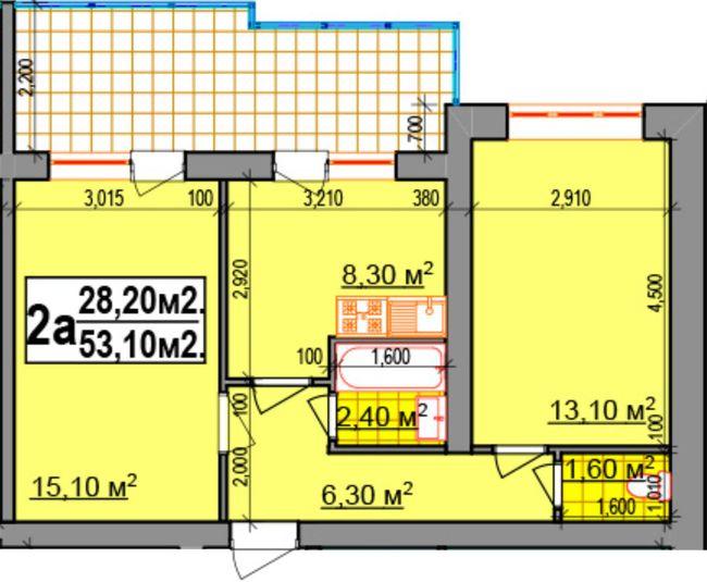 ЖК Прибалтийский: планировка 2-комнатной квартиры 53.1 м2, тип 2а