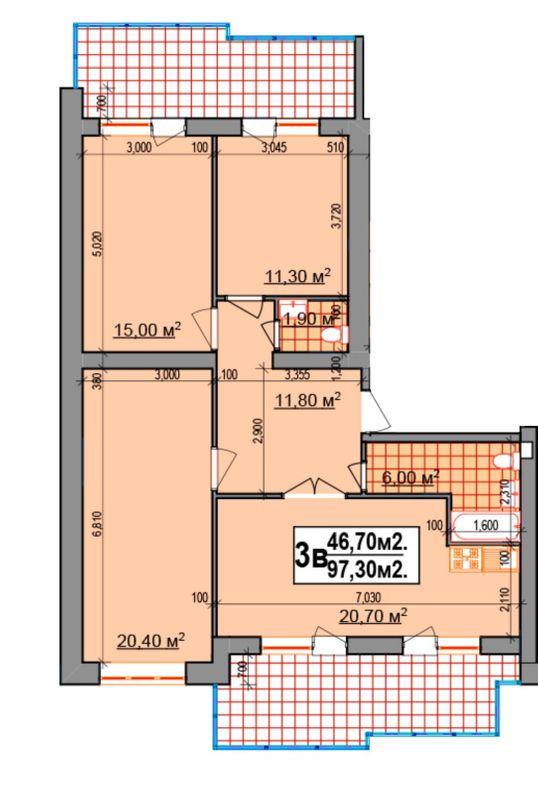 ЖК Прибалтійський: планування 3-кімнатної квартири 97.3 м2, тип 3в