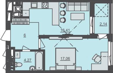 ЖК Семицвет: планировка 1-комнатной квартиры 45.88 м2, тип 1К-1