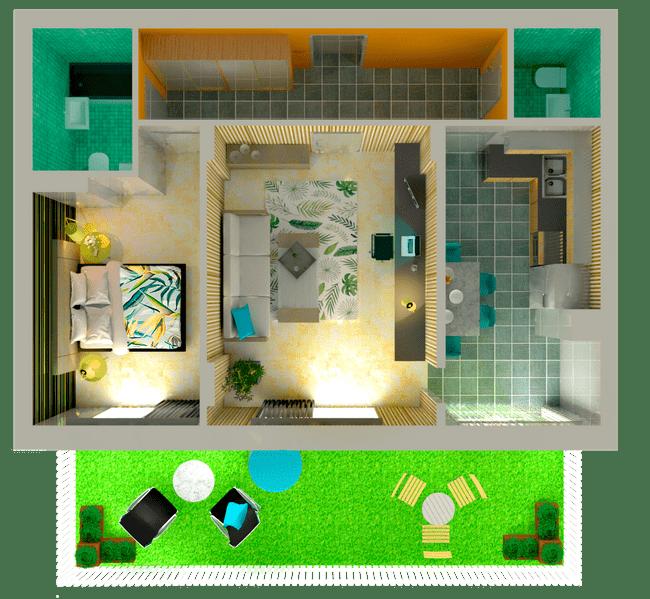 ЖК Orange Park: планировка 2-комнатной квартиры 62.51 м2, тип 2Ж