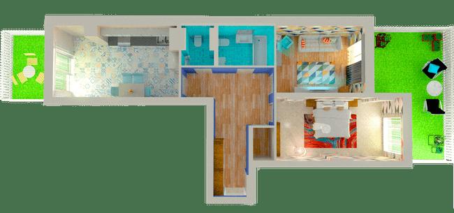 ЖК Orange Park: планування 2-кімнатної квартири 74.33 м2, тип 2Г