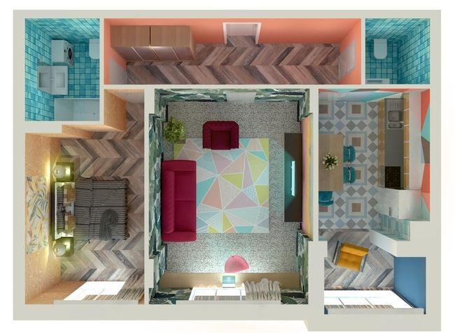 ЖК Orange Park: планування 2-кімнатної квартири 52.85 м2, тип 2Г