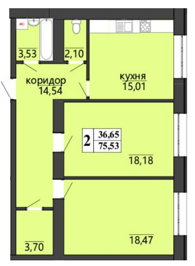 ЖК Правильный выбор: планировка 2-комнатной квартиры 75.53 м2, тип 2-75.53