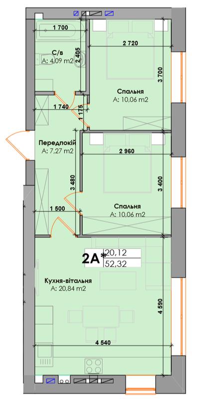 ЖК Элемент: планировка 2-комнатной квартиры 52.32 м2, тип 2А*