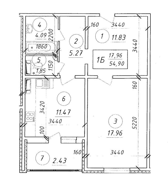 ЖК Ярославичі: планування 1-кімнатної квартири 54.9 м2, тип 1Б