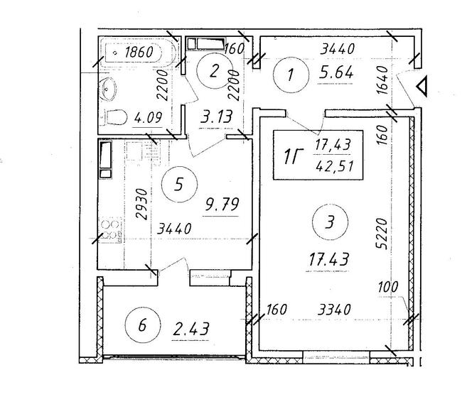ЖК Ярославичі: планування 1-кімнатної квартири 42.51 м2, тип 1Г