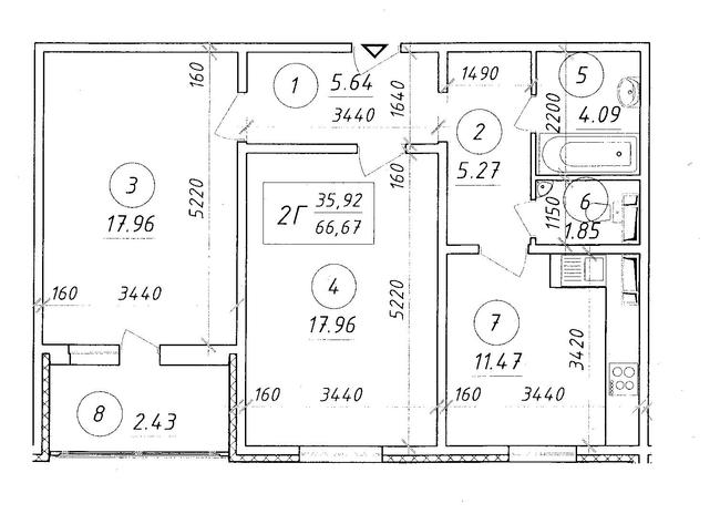 ЖК Ярославичи: планировка 2-комнатной квартиры 66.67 м2, тип 2Г