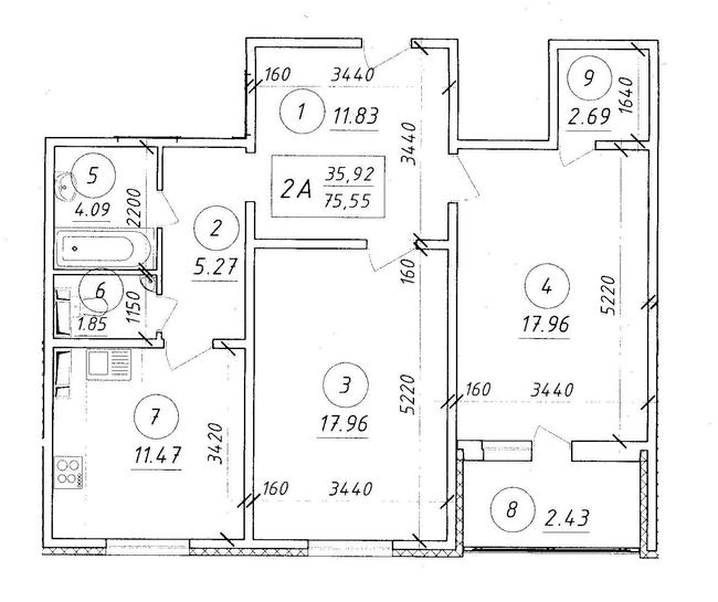 ЖК Ярославичи: планировка 2-комнатной квартиры 75.55 м2, тип 2А
