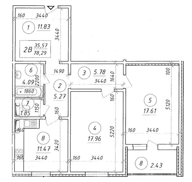 ЖК Ярославичи: планировка 2-комнатной квартиры 78.29 м2, тип 2В