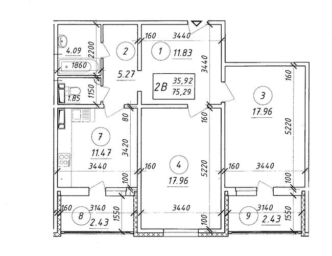 ЖК Ярославичи: планировка 2-комнатной квартиры 75.29 м2, тип 2В