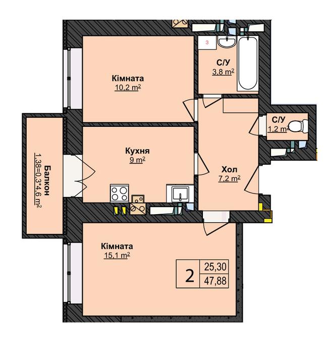 ЖК Прованс: планировка 2-комнатной квартиры 47.88 м2, тип 2-47.88
