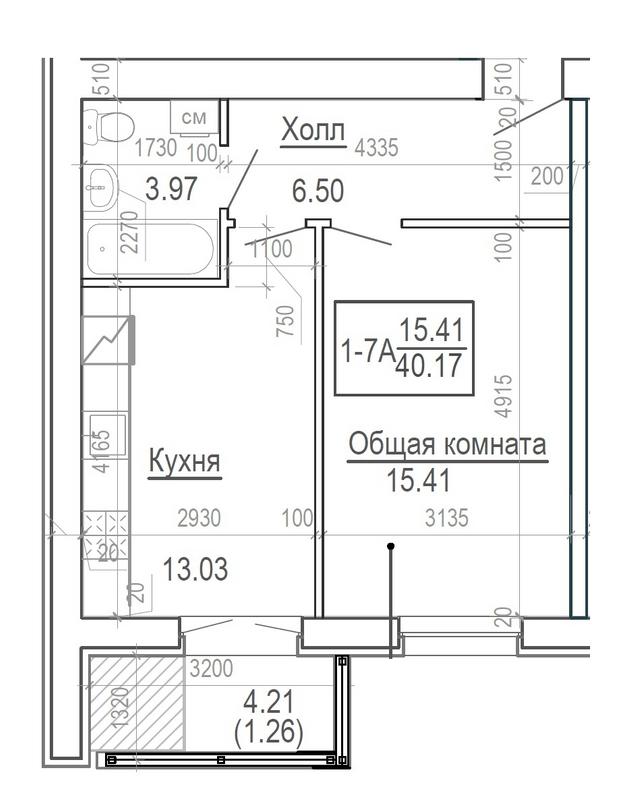 ЖК Ярославський: планування 1-кімнатної квартири 40.17 м2, тип 1-40.17