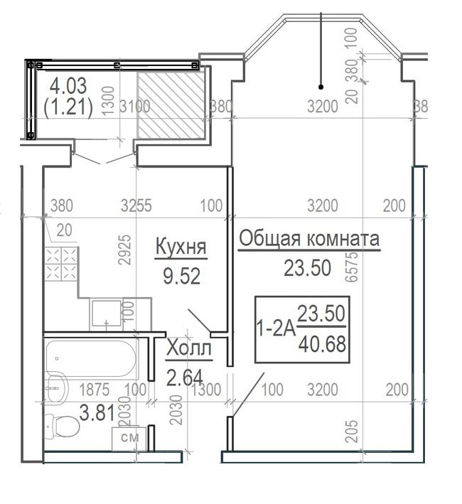 ЖК Ярославський: планування 1-кімнатної квартири 40.68 м2, тип 1-40.68