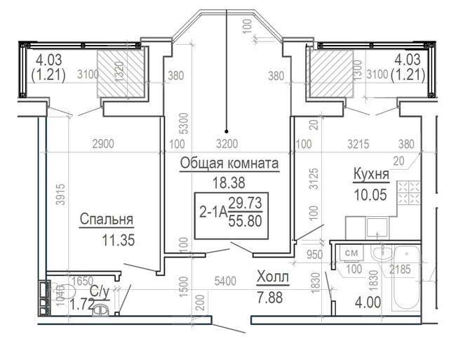 ЖК Ярославский: планировка 2-комнатной квартиры 55.8 м2, тип 2-55.8